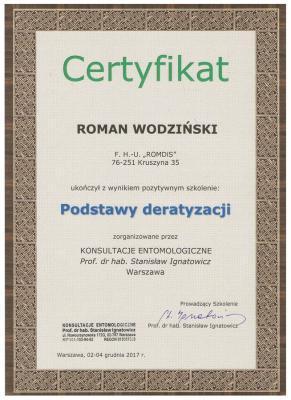 Certyfikat Deratyzacja