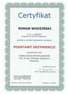 Certyfikat dezynsekcja